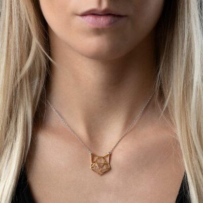 SEB Cat Face Gold Silver Domestic Animal Necklace Icelandic Fashion Jewellery Design Geometric Origami Style Jewelry