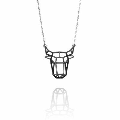 SEB Bull Black Head Face Silver Animal Necklace Icelandic Fashion Jewellery Design Geometric Nordic Style Jewelry Men