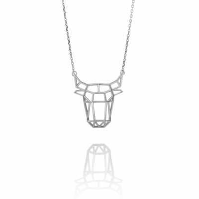 SEB Bull Face Head Silver Animal Necklace Icelandic Fashion Jewellery Design Geometric Nordic Style Jewelry Men