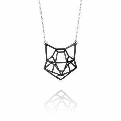 SEB Cat Face Black Silver Domestic Animal Necklace Icelandic Fashion Jewellery Design Geometric Origami Scandinavian Jewelry