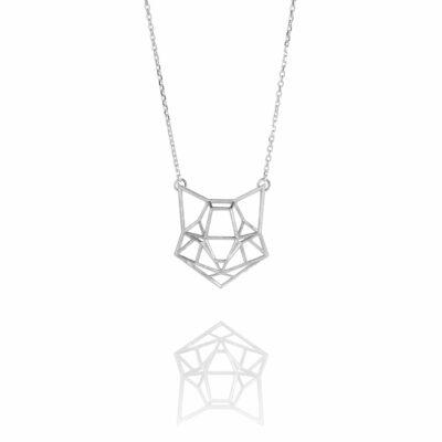 SEB Cat Face Silver Domestic Animal Necklace Icelandic Fashion Jewellery Design Geometric Origami Scandinavian Jewelry