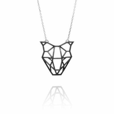 SEB Dog Head Face Black Silver Necklace Icelandic Fashion Jewellery Design Geometric Domestic Animal Scandinavian Jewelry