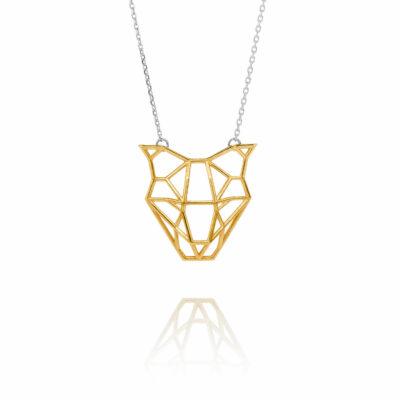 SEB Dog Head Face Gold Silver Necklace Icelandic Fashion Jewellery Design Geometric Domestic Animal Scandinavian Jewelry