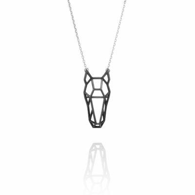 SEB Horse Head Face Black Silver Animal Necklace Icelandic Fashion Jewellery Design Geometric Scandinavian Style Jewelry