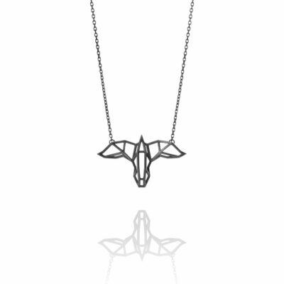 SEB Raven Black Silver Necklace Icelandic Fashion Jewellery Design Geometric Scandinavian Mysterious Nordic Mythology