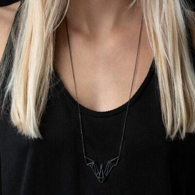 SEB Swan Wings Black Silver Necklace Icelandic Fashion Jewellery Design Geometric Scandinavian Love