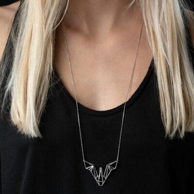 SEB Swan Wings Silver Necklace Icelandic Fashion Jewellery Design Geometric Scandinavian Love
