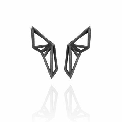 SEB Wings Black Silver Stud Earrings Icelandic Fashion Jewellery Design Geometric Scandinavian Style Elegant